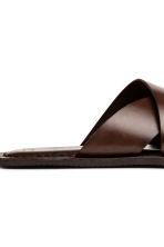 Slip-on leather mules - Dark brown - Men | H&M 5