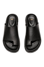 Grained leather sandals - Black - Men | H&M 2