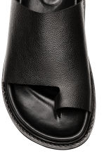 Grained leather sandals - Black - Men | H&M 3