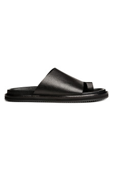 Grained leather sandals