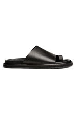 Grained leather sandals - Black - Men | H&M 1