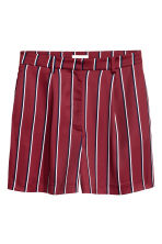 High-waisted shorts - Burgundy/Striped - Ladies | H&M 2