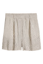 High-waisted shorts - Natural white/Striped - Ladies | H&M CN 2