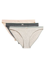 3-pack bikini briefs - Grey/Striped - Ladies | H&M CN 2