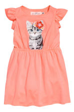 Printed jersey dress - Coral pink/Cat -  | H&M 2
