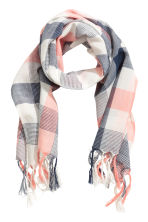Checked scarf - White/Dark blue - Kids | H&M 1