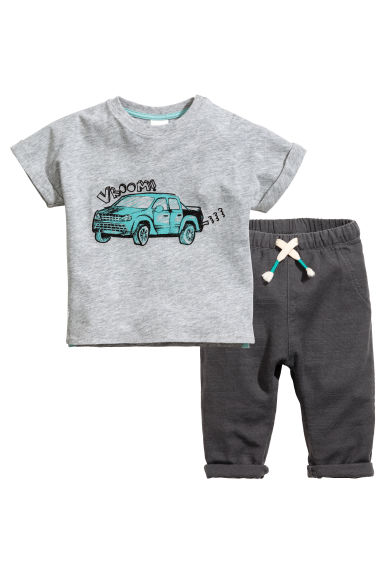 T-shirt and trousers - Grey marl - Kids | H&M 1
