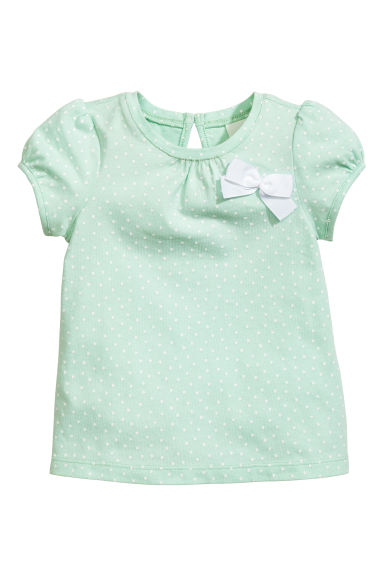 Short-sleeved top - Mint green/Spotted -  | H&M CN 1