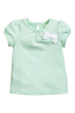 Short-sleeved top - Mint green/Spotted -  | H&M 1