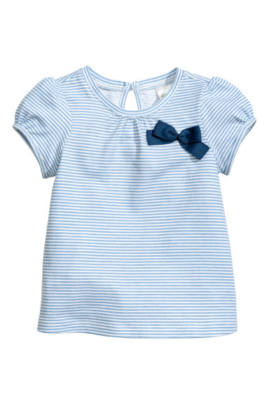 Short-sleeved top - Blue/White/Striped -  | H&M CN 1