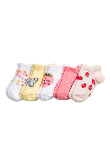 5-pack trainer socks - Powder pink/Strawberries - Kids | H&M