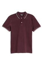 Premium cotton piqué shirt - Burgundy - Men | H&M 2