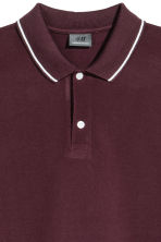 Premium cotton piqué shirt - Burgundy - Men | H&M 3