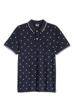 Premium cotton piqué shirt - Dark blue/Patterned - Men | H&M 2