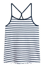 Jersey strappy top - White/Dark blue/Striped -  | H&M 2