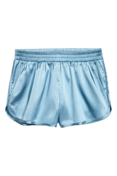 Satin shorts - Light blue - Ladies | H&M CN 1