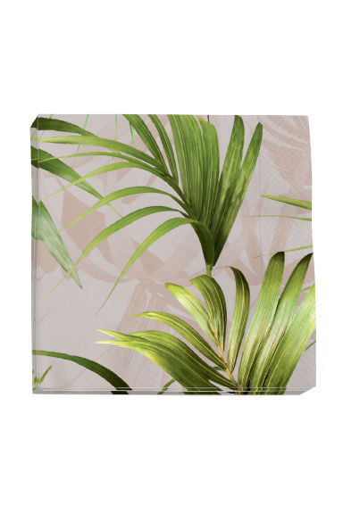 Paper napkins - Light pink/Palm leaf - Home All | H&M CN 1