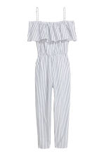 Off-the-shoulder jumpsuit - White/Striped - Ladies | H&M CN 2