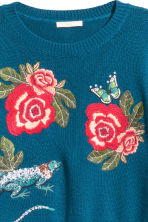 Knitted jumper with embroidery - Dark blue/Floral - Ladies | H&M 4
