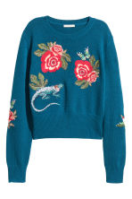 Knitted jumper with embroidery - Dark blue/Floral - Ladies | H&M CA 2