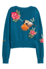 Knitted jumper with embroidery - Dark blue/Floral - Ladies | H&M 3