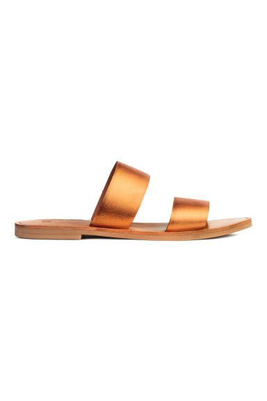 Leather mules - Orange/Metallic - Ladies | H&M CN 1
