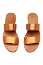 Leather mules - Orange/Metallic - Ladies | H&M CN 2
