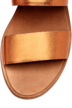 Leather mules - Orange/Metallic - Ladies | H&M CN 3