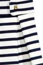 平紋百褶短裙 - White/Dark blue/Striped -  | H&M 3