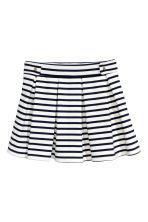 Pleated jersey skirt - White/Dark blue/Striped -  | H&M CA 2