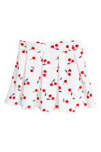 Pleated jersey skirt - White/Cherry -  | H&M 2