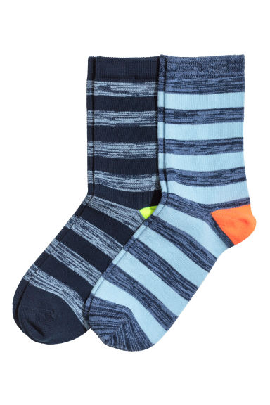 2-pack socks - Blue/Striped - Kids | H&M 1
