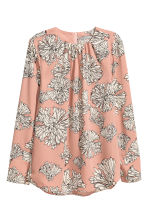 Long-sleeved blouse - Powder beige/Floral - Ladies | H&M CN 1