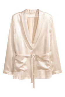 Tie-belt satin jacket