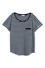 Top in jersey a righe - Blu scuro/bianco -  | H&M IT 2