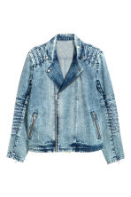 Denim biker jacket - Denim blue - Men | H&M CN 2