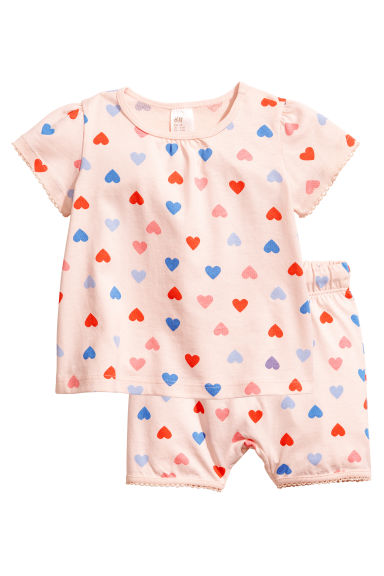 平紋睡衣套裝 - Powder pink/Hearts -  | H&M