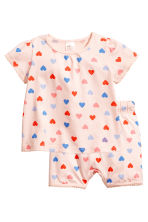 Jersey pyjamas - Powder pink/Hearts - Kids | H&M CN 1