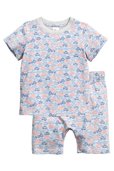Jersey pyjamas - Grey/Cars - Kids | H&M 1