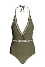 Halterneck swimsuit - Khaki green - Ladies | H&M CN 2