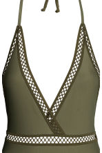 Halterneck swimsuit - Khaki green - Ladies | H&M CN 3