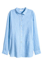 Linen shirt - Blue - Ladies | H&M CN 2