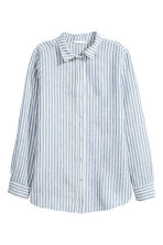 Linen shirt - Blue/Striped - Ladies | H&M CN 2