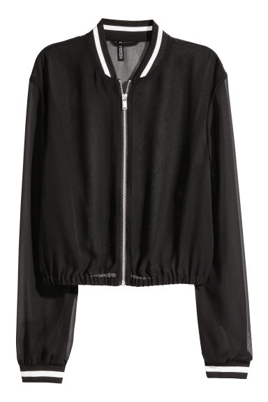 Chiffon bomber jacket - Black - Ladies | H&M CN 1