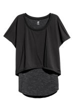 Layered yoga top - Black/Grey marl - Ladies | H&M 1