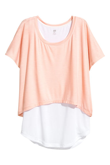 Layered yoga top - Powder pink/White - Ladies | H&M CN 1