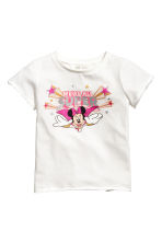 Printed jersey top - White/Minnie Mouse - Kids | H&M CN 2