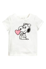 Printed jersey top - White/Snoopy - Kids | H&M CA 2