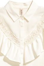 Frilled blouse - Natural white - Ladies | H&M CN 3