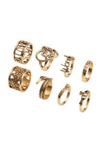 8-pack rings - Gold - Ladies | H&M 1
